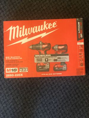 Milwaukee m18 (2893-22cx) hammer drill and impact drill set with batteries for Sale in Worcester, MA