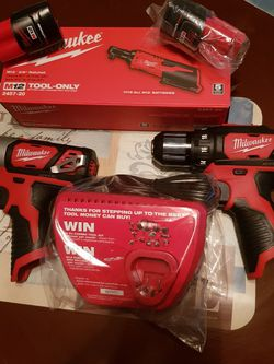 M12 Milwaukee Impact Driver And Drill Driver And Ratchet 3 / 8 Charger and 2 Baterry 1.5 for Sale in Lakeland,  FL