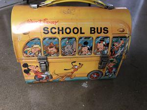 Vintage 1960's Walt Disney School Bus Lunch Box With Thermos for Sale in Arlington, VA