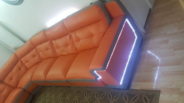 Leather sectional with lights