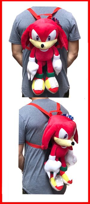 NEW! Novelty Knuckles Sonic The Hedgehog soft plush backpack movie kids bag shoulder bag rave sega video games anime cartoon movie for Sale in Carson, CA