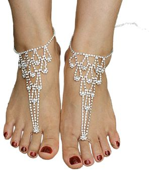 SweetM 2pc Rhinestone Barefoot Sandals Wedding Jewelry Toe Ring Anklets for Sale in Kent, WA