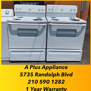 White GE Electric Stoves Starting At $149 1 Year Warranty for Sale in San Antonio, TX