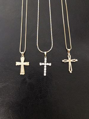 Gold plated cross pendant with chain ($10 each) for Sale in Philadelphia, PA