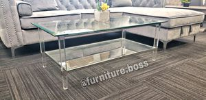 -Glass Coffee Table- Acrylic ghost legs - Z Gallerie - A for Sale in Fontana, CA