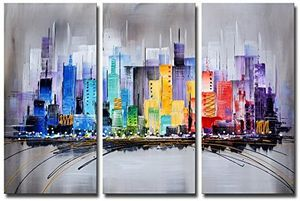 Wall Art Colorful City 3 Piece Wrapped Canvas for Sale in Austin, TX