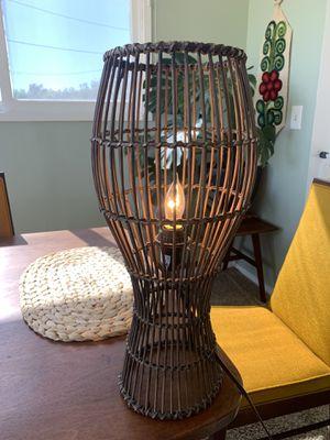 Vintage mid century boho rattan basket hanging table lamp for Sale in San Pedro, CA
