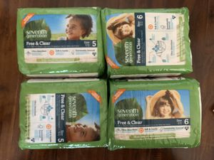 Seventh generation infant toddler disposable diaper size 5 or size 6 (each pack $5) just like huggies and pampers diapers and no chemicals for Sale in Alta Loma, CA