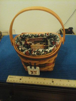 "1996 Decorative Merry Christmas LONGABERGER BASKET, 5"" WIDE,M8.5"" TALL At handle, Handmade for Sale in North Port, FL"