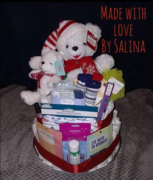 Stuffed Teddy Bear Diaper Cake for Baby and Mom for Sale in Stockton, CA