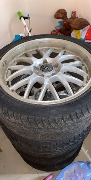 Rims and tires 235/40/R18 one rim is kinda bent can be fixed no problem for Sale in North Miami Beach, FL