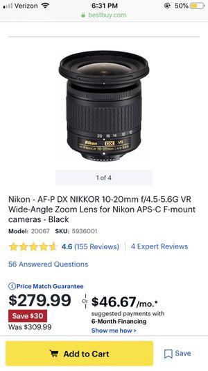 Used a few times - Nikon - AF-P DX NIKKOR 10-20mm f/4.5-5.6G VR Wide-Angle Zoom Lens for Nikon APS-C F-mount cameras - Black for Sale in Miami Gardens, FL