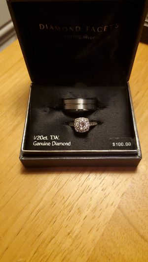 Titanum man's wedding ring size 10 and silver plated women's engagement wedding ring size 8 for Sale in Mankato, MN