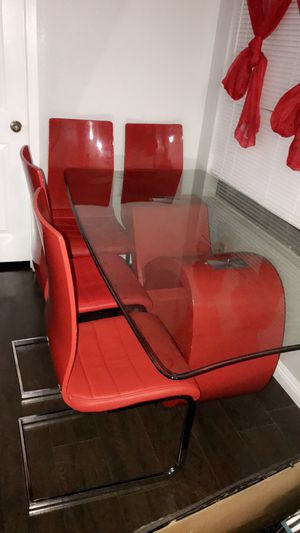 Red 6 piece table set for Sale in Henderson, NV