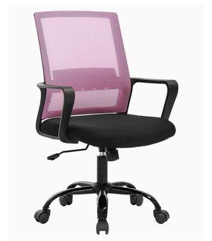 Desk Chair Mesh Office Chair Ergonomic Computer Chair Executive Lumbar Support Adjustable Stool Rolling Swivel Chair,Pink for Sale in Medford, MA