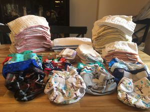 Cloth Diaper Lot - 60 Prefolds and 20 Covers for Sale in Port St. Lucie, FL