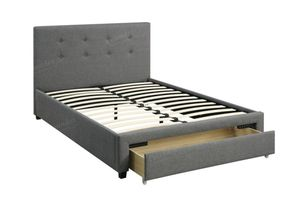Queen Bed Frame with Storage Drawer, Grey for Sale in Downey, CA