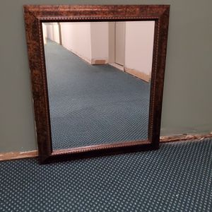 """LARGE (28.5"""" x 24.5"""" x .5""""), LIGHTWEIGHT, Pre-wired, FAUX-WOOD FRAMED, BEVELED-GLASS MIRROR - firm price for Sale in Arlington, VA"""