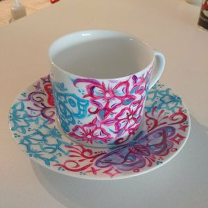 Handpainted Teacup and Saucer for Sale in Ruston, WA