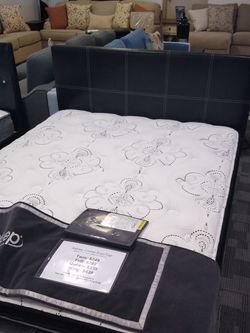 Full size platform bed frame With 12 inch Ashley Chime Pillow Top Hybrid Mattress Included for Sale in Glendale,  AZ