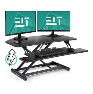 "37"" Black Height Adjustable Stand Up Power Riser Desktop Workstation fits Dual Monitor for Sale in Queens, NY"