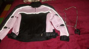 Females motorcycle jacket- and keychain that has skulls and pitbull symbol. for Sale in Chicago, IL