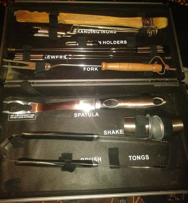 Bakers Chef BBQ TOOL UTENSIL SET IN Case Stainless!