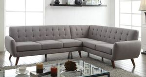 FREE DELIVERY $50 DOWN Essick grey fabric sectional sofa couch for Sale in Miami, FL