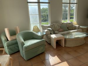 FREE Couch, Armchairs, TV Stand, Lamp, Table, Shelf, Linens, Etc. for Sale in Vero Beach, FL