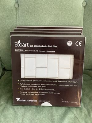 4 boxes peel and stick white subway tiles for Sale in Encinitas, CA
