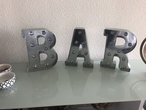 Silver BAR Metal Marquee Letters for Sale in Miami, FL