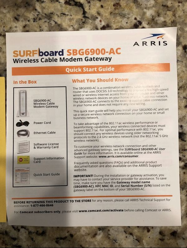 Arris cable modem and WiFi router