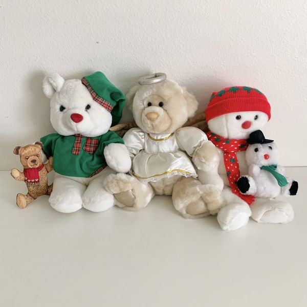 Vtg 90s Christmas Plush Stuffed Animal lot x 5 Teddy Bear Snowman