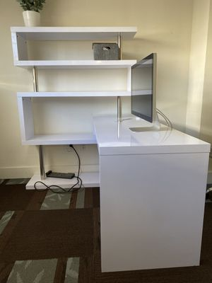 "75"" Modern Corner Rotating Combo L-Shaped Computer Desk With 2 Storage Shelves for Sale in San Diego, CA"