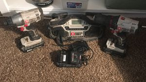 Porter Cable 20v drill, impact, battery/charger, stereo for Sale in Spokane, WA