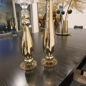 Talll Gold Candleholder - Set Of 2 for Sale in Los Angeles, CA