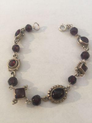 Sterling silver vintage bracelet ruby colored stones 7 1/2 inch for Sale in Las Vegas, NV