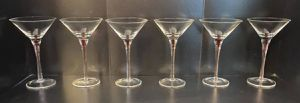Vintage Antique Mid Century Modern MCM Sexy Set Of 6 Striped Ruby Red Martini Cocktail Glasses for Sale in Chapel Hill, NC