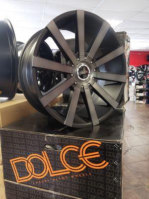 "22"" 22x9 6x139.7 +30 6-lug Black Tint Wheels Tires Rims 285/45-22 Chevy Tahoe Suburban 1500 Sierra GMC Yukon Nissan Infiniti We Finance for Sale in Bellflower, CA"