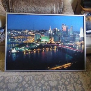 55 x 40 inches Picture of Pgh. at night from IKEA for Sale in North Versailles, PA