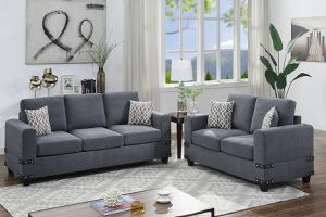 CHARCOAL CHENILLE SOFA SET WITH PILLOWS for Sale in Perris, CA