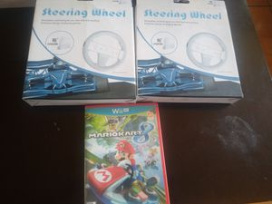 Nintendo Wii U Mario kart and 2 new steering wheel for Sale in San Diego, CA