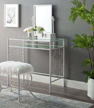 New!! Vanity set, 3 pc vanity set, metal 3 pc mirror desk and fur stool vanity set, bedroom set, girl's bedroom set, white for Sale in Phoenix, AZ