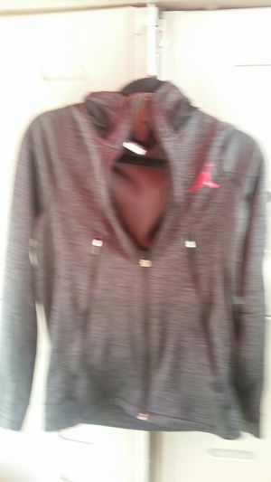 Air Jordan women warm-up jacket charcoal gray what the red Michael Jordan's emblem. It's also a hoodie $25 or best offer for Sale in Los Alamitos, CA