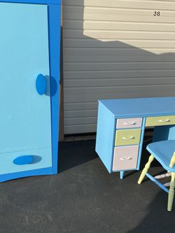 Colorful Kids Room Furniture Closet, Desk and Chair for Sale in Tigard,  OR