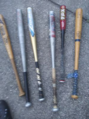 Six different aluminum and wood baseball bats for Sale in Tampa, FL