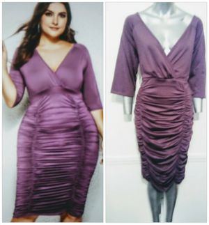 Plum high Stretch Sleeved Slimming Ruched sides, Great Party dress for Sale in Whittier, CA