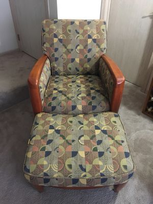 Real wood chair and ottoman for Sale in Columbus, OH
