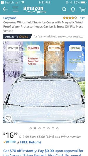 Windshield Snow Ice Cover with Magnetic Wind for Sale in Bloomington, IN