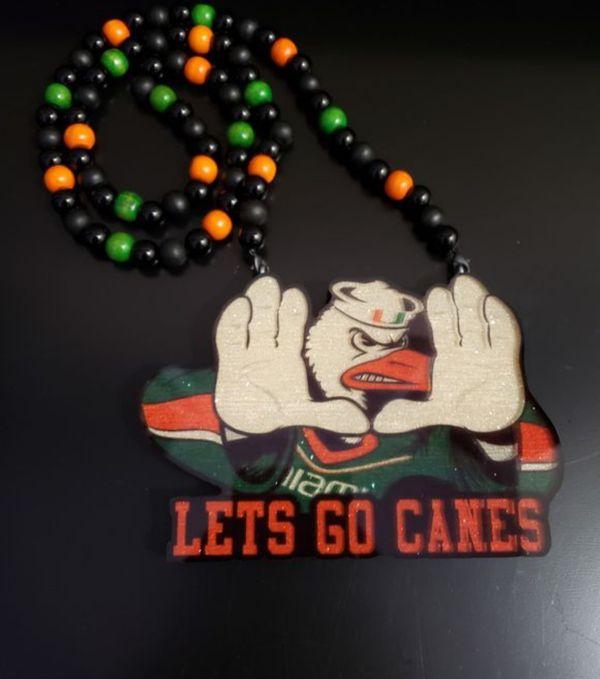 "University of Miami custom Wood Chian of UM Football Team Logo ""LETS GO CANES"""